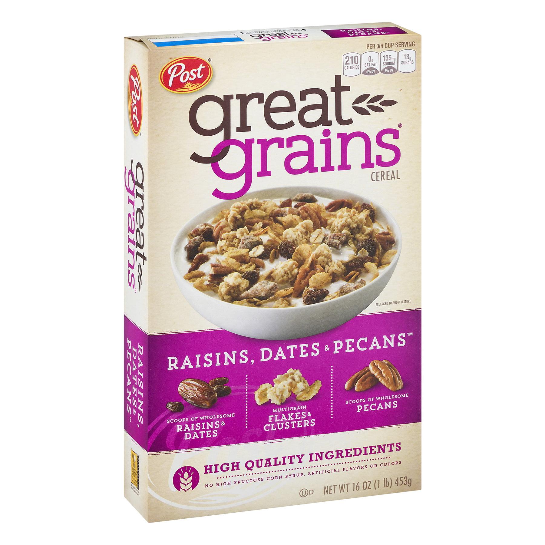 Post Great Grains Breakfast Cereal, Raisins, Dates & Pecans, 16 Oz