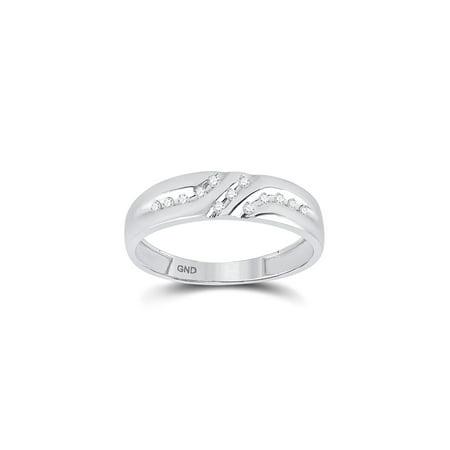 14kt White Gold Mens Round Diamond 5mm Wedding Anniversary Band Ring 1/8 Cttw