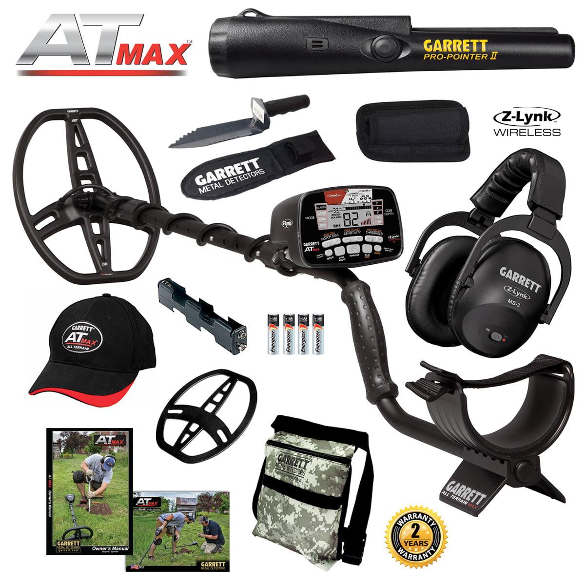Garrett AT MAX Metal Detector, MS-3 Headphones, Pro-Pointer II, Daypack & Digger by