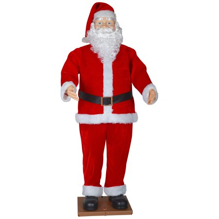 385d9538b3 Holiday Time Life Size Animated Dancing Santa with Realistic Face Christmas  Decor