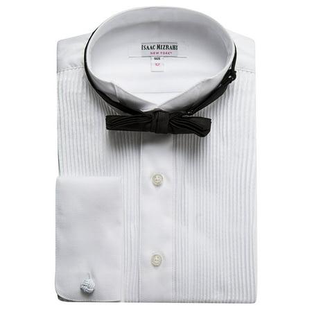 Cotton Non Iron French Cuff (Isaac Mizrahi Boys SH9250B 100% Cotton French Cuff Twill Wing Tip Collar - White - 14 )