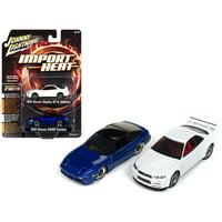 1992 Nissan 240 SX Custom Blue Metallic &1999 Nissan Skyline GT-R (BNR34) White Set of 2 1/64 Cars by Johnny Lightning