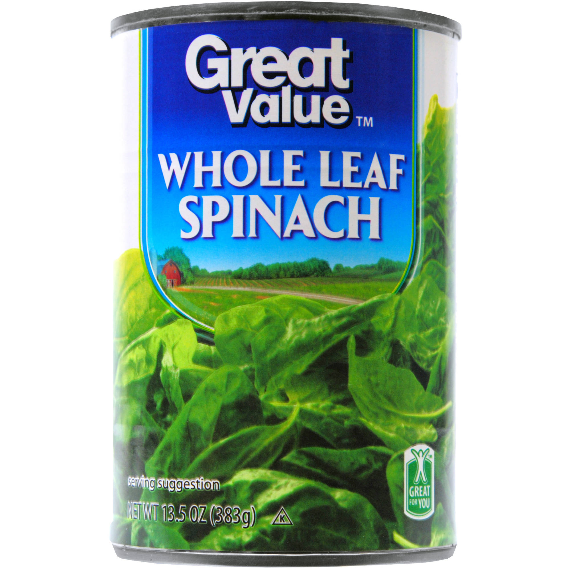 Great Value Whole Leaf Spinach, 13.5 Oz
