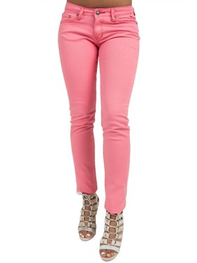 S&P Women's Contemporary Hot Pink Stretch Denim Skinny Jeans Funmetal Buttons