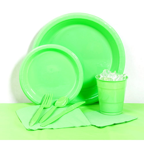 Citrus Green Plastic Tableware Party Pack for 20