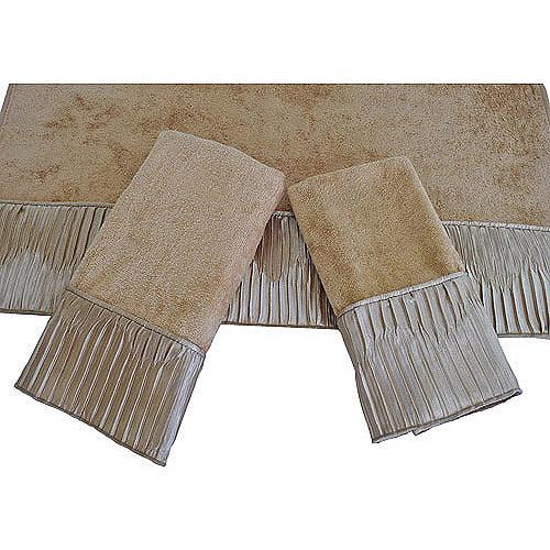 Sherry Kline Vertical Pleats 3-Piece Decorative Towel Set, Gold