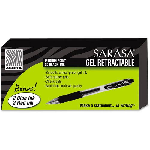 Zebra Sarasa Retractable Gel Roller Ball Pen Bonus Box, Black Ink, 24/Pk