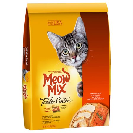 Meow Mix Tender Centers Salmon & White Meat Chicken Flavors Dry Cat Food, 13.5-Pound (Pink Linen Mix)