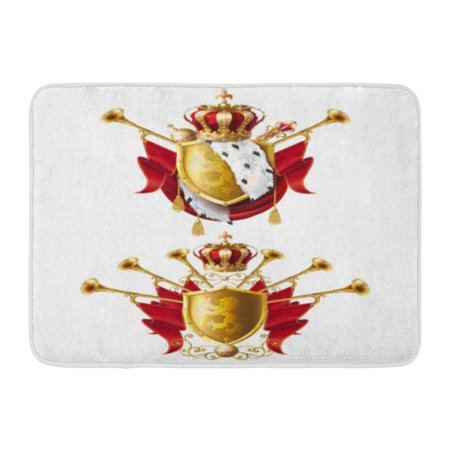 Scepter Jewel (GODPOK Royal Golden Crowns with Jewels Fanfares Scepter Orb and of Arms with Red Velvet and Ermine Realistic Rug Doormat Bath Mat 23.6x15.7 inch )