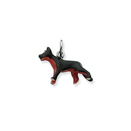 .925 Sterling Silver Enameled German Shepherd Dog Charm Pendant Shepherd Sterling Silver Charm