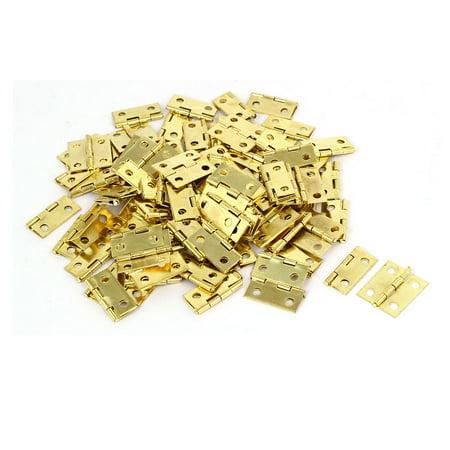 Jewelry Gift Box Wood Case  Hinges Gold Tone 18mm Length 100PCS