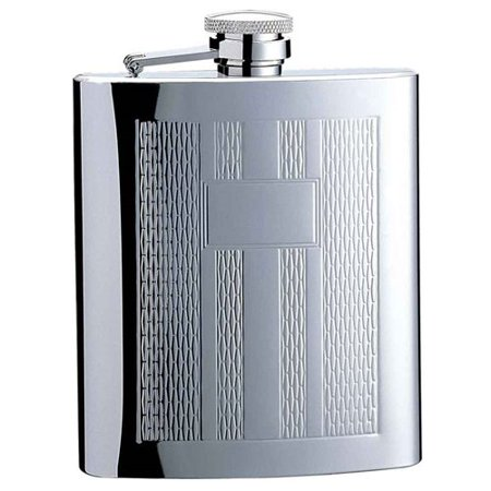 Visol Products Textured Columns Matte Engraved Hip Flask
