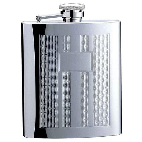 Visol Products Textured Columns Matte Engraved Hip Flask