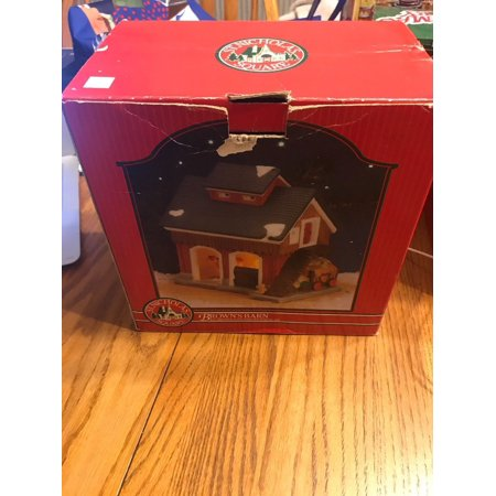 NEW St. Nicholas Square Brown's Barn Illuminated Hand Painted Porcelain
