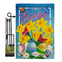 "Daffodils Easter Spring Impressions Decorative Vertical 13"" x 18.5"" Double Sided Garden Flag Set Metal Pole Hardware"