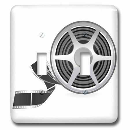 3dRose A Movie Reel With A Strip Of Movie Film Illustration - Double Toggle Switch