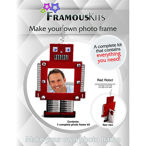 Framous Kits Robot Framous Plastic Canvas Kit, 7.7 by 5.3-Inch, Red Multi-Colored