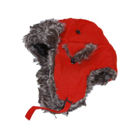 Ushanka Faux Fur Trapper Winter Flight Trooper Hat Cap - RED