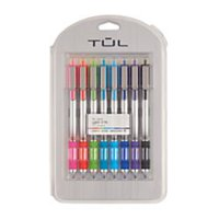 TUL(R) Retractable Gel Pens, Needle Point, 0.5 mm, Gray Barrel, Assorted Bright Ink Colors, Pack Of 8