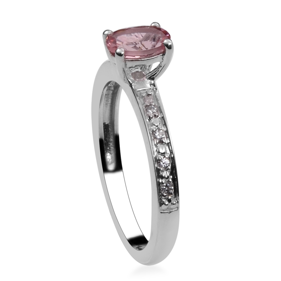 Pink Tourmaline, Zircon Platinum Plated Silver Ring 0.5 cttw by Shop LC