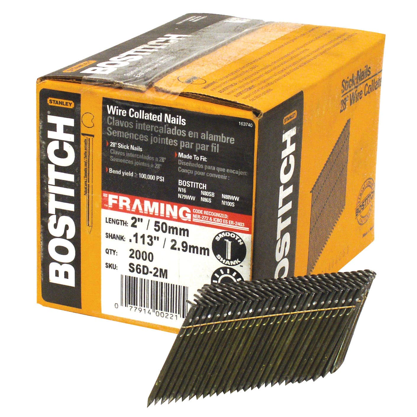 Framing Nail, 2 In,PK2000 BOSTITCH S6D-FH
