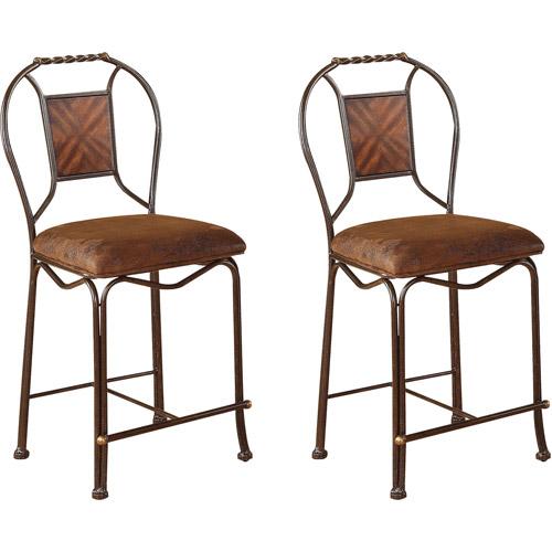 Acme Bahia Counter Chair, Set of 2, Saddle