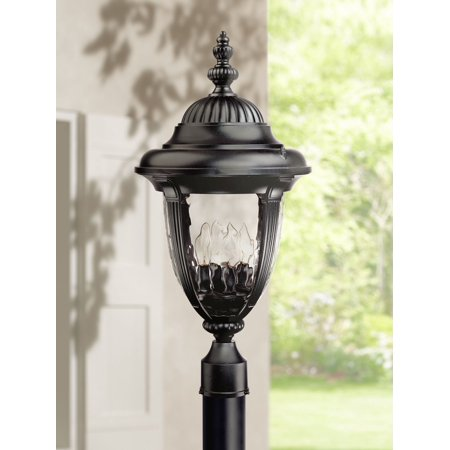 John Timberland Traditional Outdoor Post Light Textured Black Italian Design 24 1/2