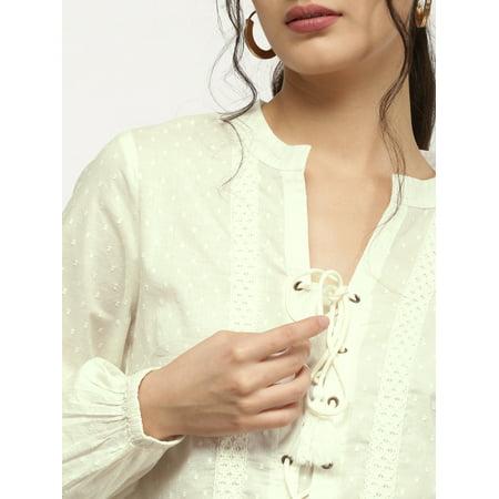 all about you from Deepika Padukone Women Off-White Self Design Semi-Sheer Top - image 2 de 6