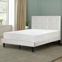 "GranRest 14"" Faux Upholstered Leather Platform Bed, Light Gray, Full"