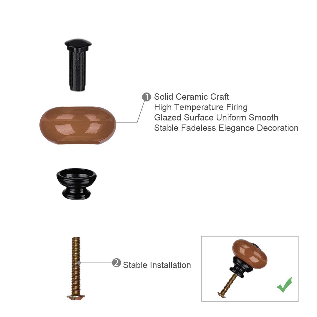 Ceramic Knob Pull Handle Furniture Dresser Wardrobe Cabinet Accessory 8pcs Brown - image 1 de 8
