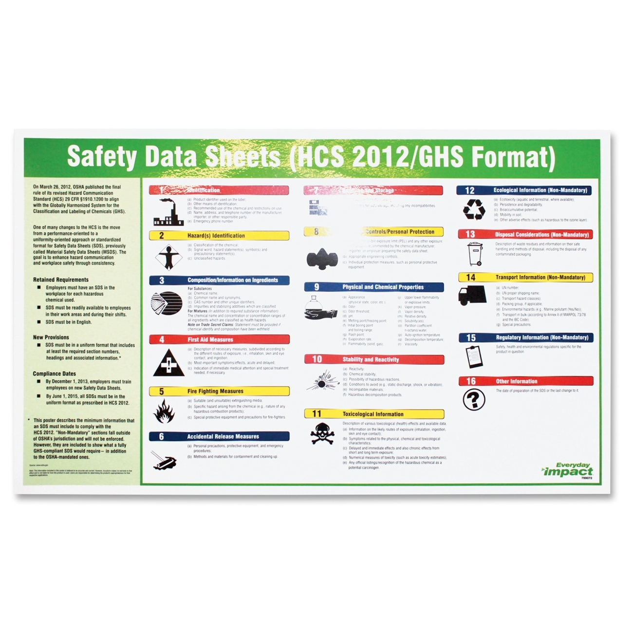"""Impact Products Safety Data Sheet Spanish Poster - Safety - 32"""" Width X 20"""" Height - Assorted (lfp-799073)"""