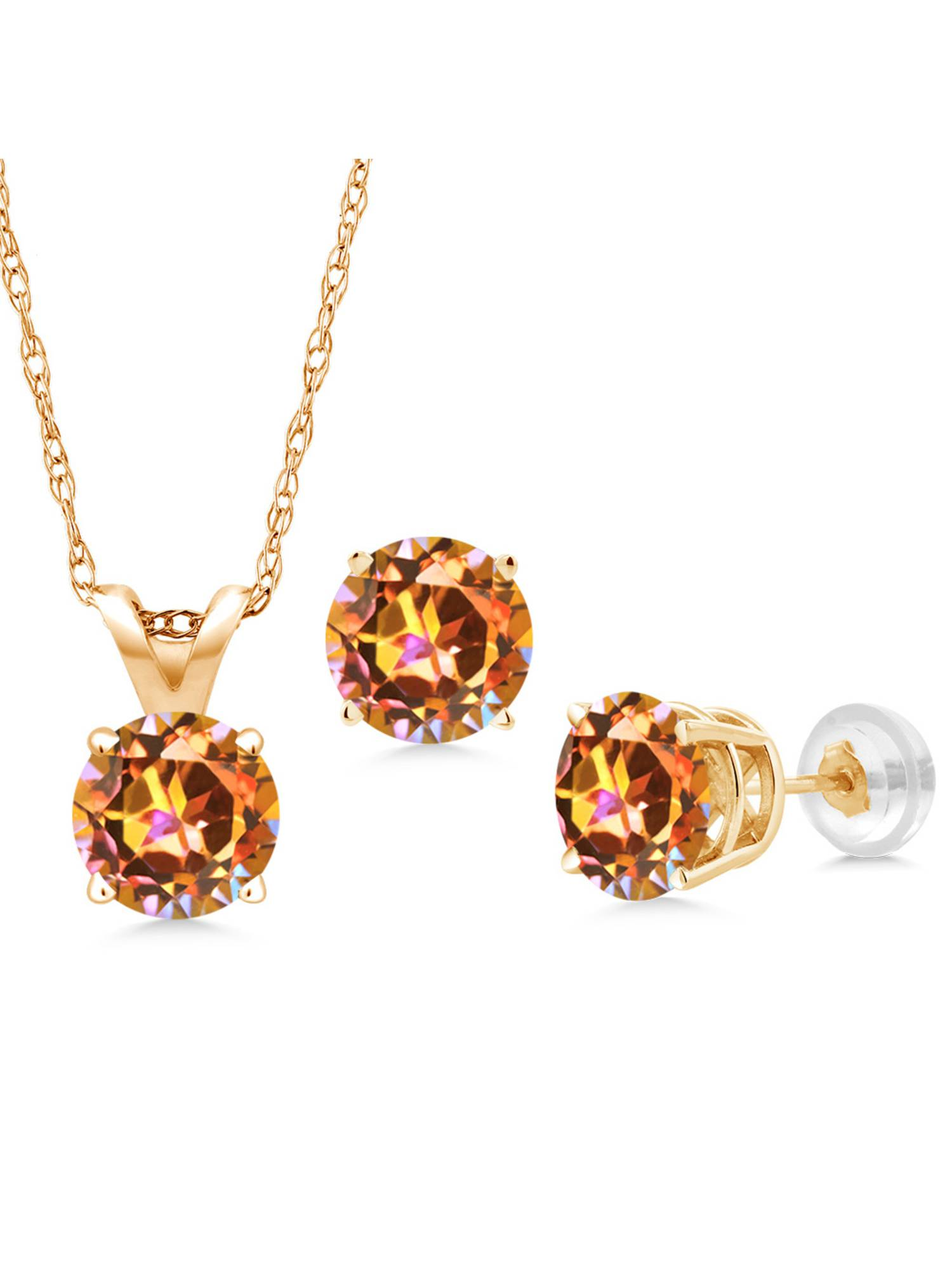 3.00 Ct Ecstasy Mystic Topaz 14K Yellow Gold Pendant Earrings Set With Chain