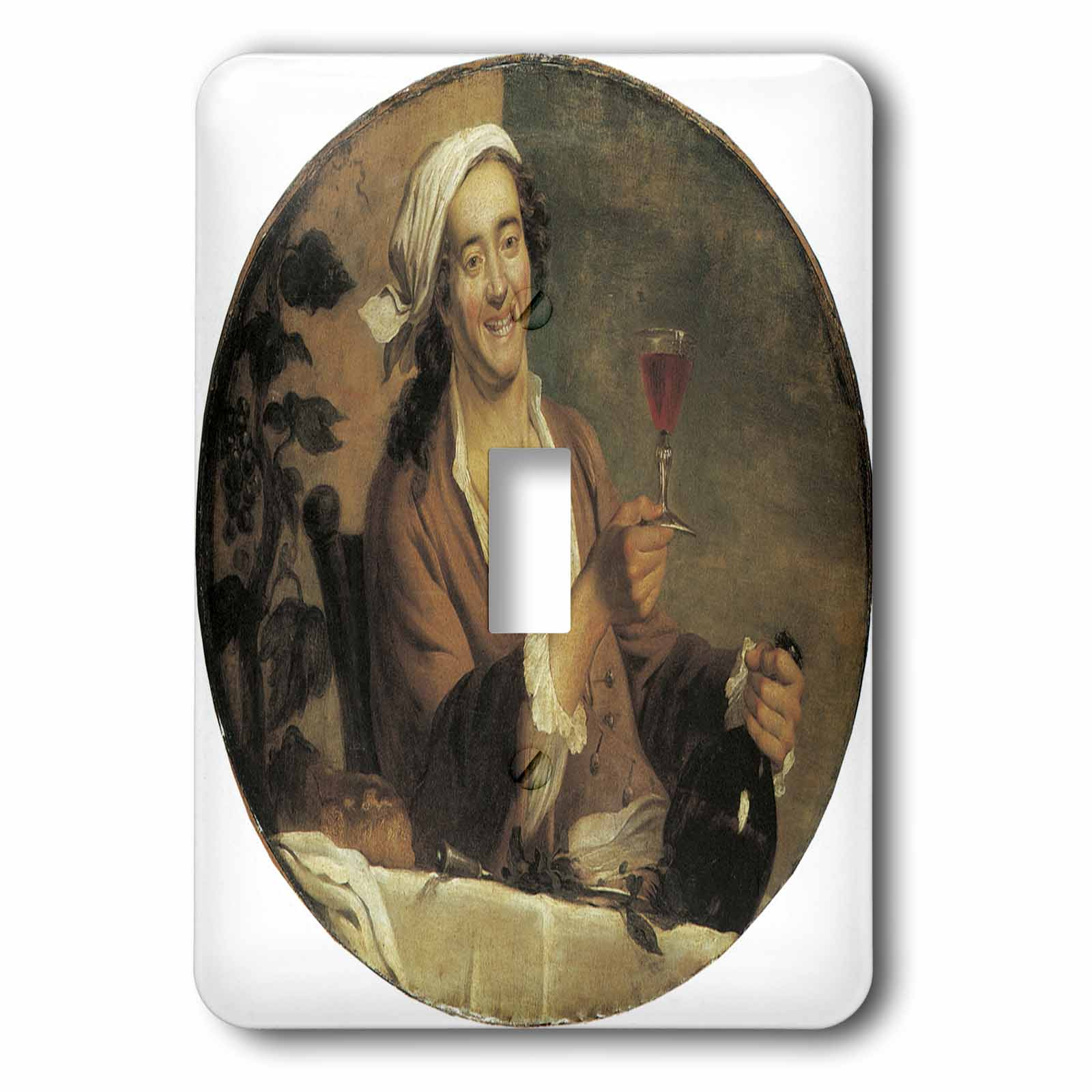 3dRose Buveur de Vin by Etienne Jeaurat Man with a Bottle of Wine and a Wine Glass, 2 Plug Outlet Cover