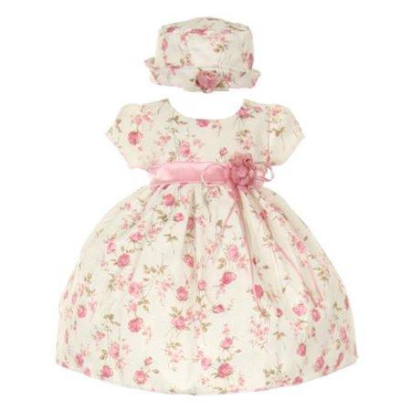 Pink Satin Rosette - Baby Girls Pink Jacquard Floral Printed Satin Rosette Sash Easter Dress 18M