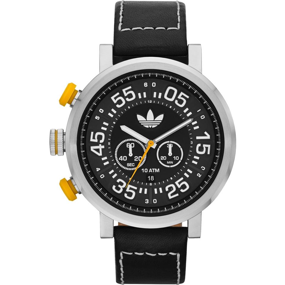 Adidas adh3024 Stainless Steel Case Black Calfskin Mineral Men's Watch by Adidas