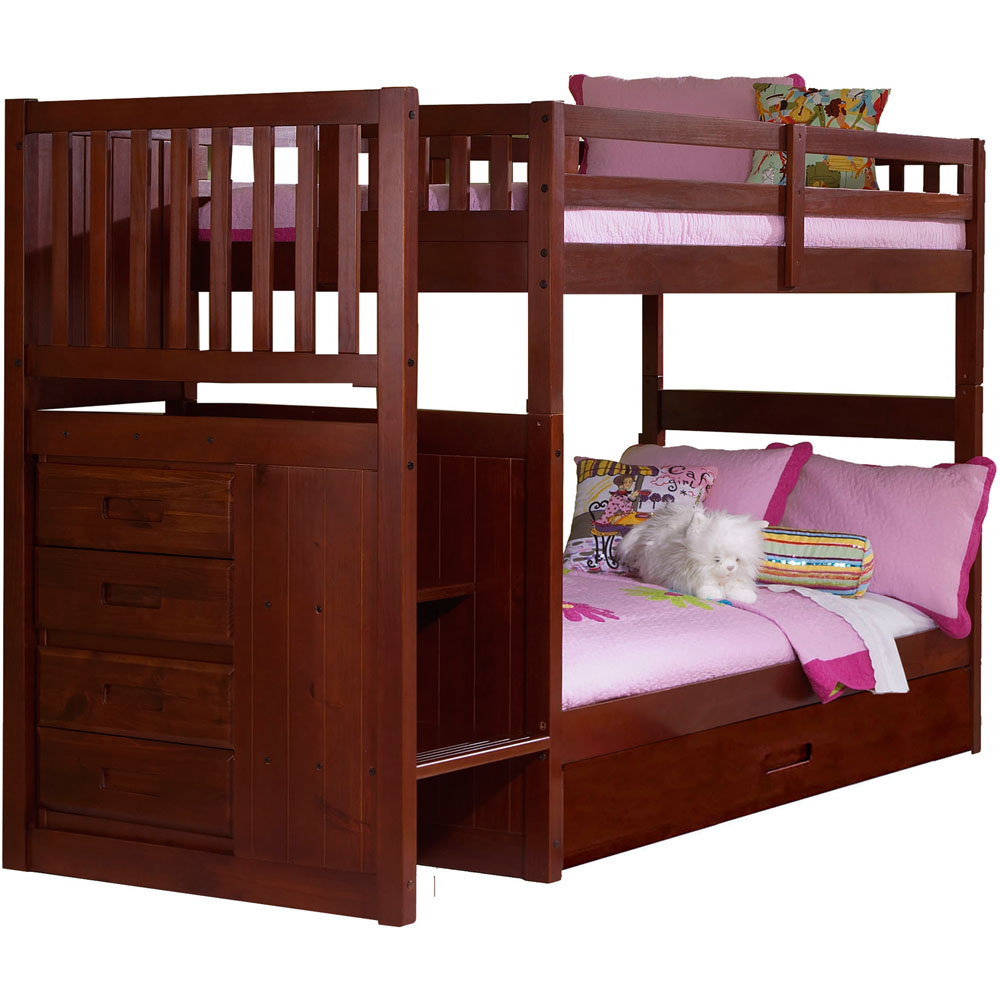 Cambridge Springside Twin Over Twin Staircase Bunk Bed with Trundle