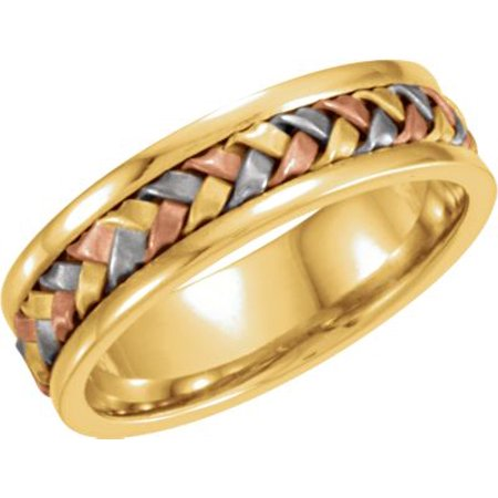 - 14kt Tri-Color 14kt 5mm Hand-Woven Band Size 10 50133 / 14Kt Yellow/White/Rose / 10 / 05.00 Mm / Tri Color Hand Woven Band