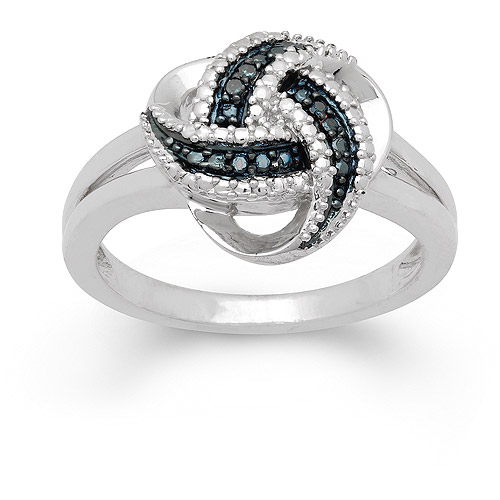 Blue Diamond Accent Sterling Silver Love Knot Ring