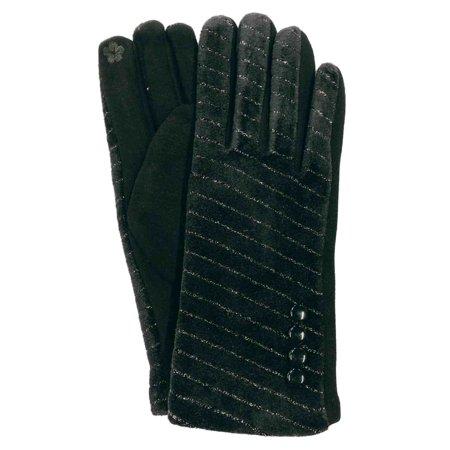 G&S Womens Metallic Black Velvet Stretch Fit Button Texting & Tech Smart Gloves