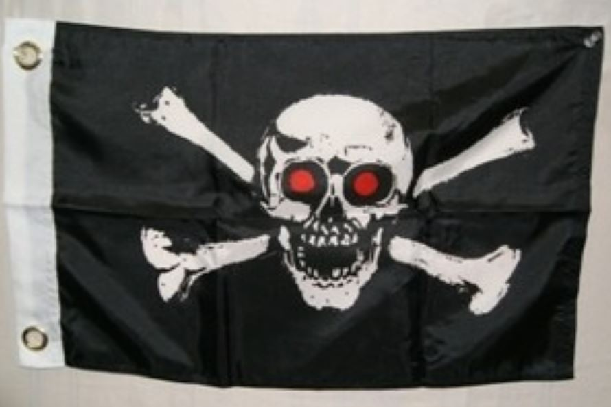 12x18 Pirate Red Eyes Jolly Roger Flag Skull and Crossbones Boat Flag New by Home and Holiday Flags