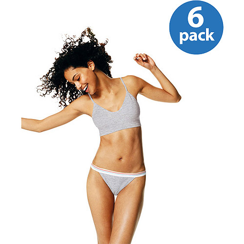 Hanes - Women's Assorted Cotton String Bikini Panties, 6-Pack
