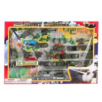 Metro Army Military Combat 43 Piece Mini Toy Diecast Vehicle Play Set, Comes with Street Play Mat, Variety of Vehicles a