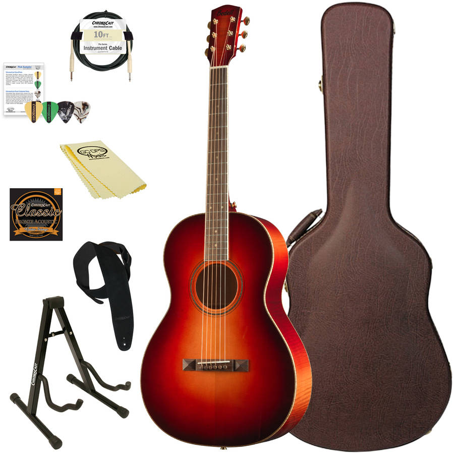 Bedell Guitars Wildfire Series Parlor Acoustic-Electric Guitar with ChromaCast Accessories, Fire Burst Finish