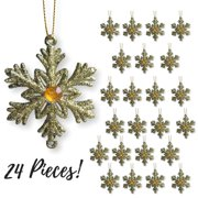 """Gold Snowflakes – Set of 24 Small 2 ½"""" Snowflake Ornaments with a Jewel - Gold Christmas Decorations – Glittered Snowflakes with Strings – Winter Party Decoration"""