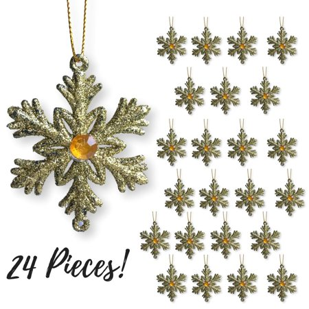 "Gold Snowflakes – Set of 24 Small 2 ½"" Snowflake Ornaments with a Jewel - Gold Christmas Decorations – Glittered Snowflakes with Strings – Winter Party Decoration](Snowflake Christmas Decoration Ideas)"