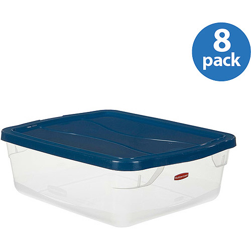 Rubbermaid 3.75-Gallon (15-Quart) Clever Store Container, Clear/Comfort Blue, Set of 8