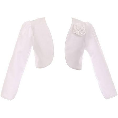 Little Girls Rosette Satin Long Sleeve Flower Girl Bolero Jacket Cover Shrug USA White 2 (Satin Long Sleeve)
