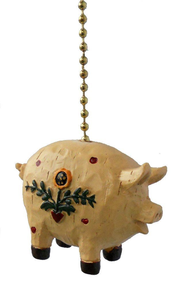Primitive Country Pig Ceiling Fan Pull Light Chain