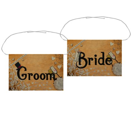 ZKGK Bride & Groom Chair Banner Set Chair Sign Garland for Rustic Vintage Wedding Party Chair Decoration,White and Gold Confetti Background](Here Comes The Bride Banner)