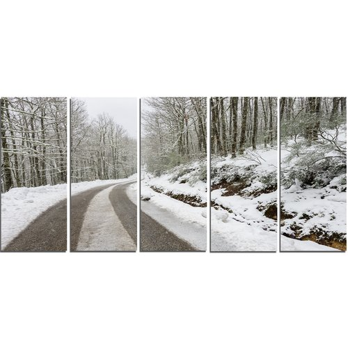 Design Art 'Snow Storm at Piornedo Spain' 5 Piece Photographic Print on Wrapped Canvas Set